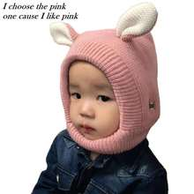 Winter Baby Hat Cartoon Warm Infant Caps With Ear Crochet Knitted Beanies for Children Neck Warmer Cap High Quality Baby Bonnet(China)