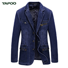 2017 Spring Autumn Brand Men Blue Denim Blazer Clothes High Quality Jackets Overcoat Slim Fit Jeans Casual Blazer Jacket Coats