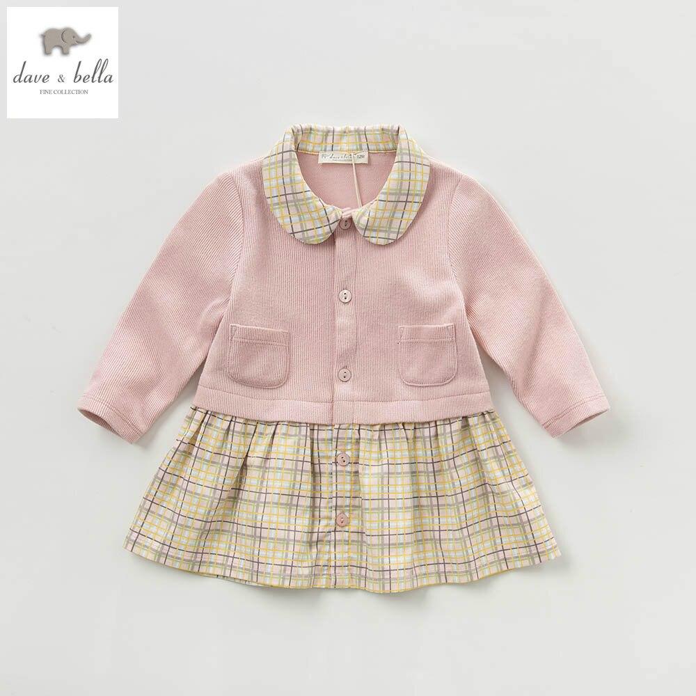 DB3876 davebella spring girls knitted dress striped pink dress fancy dress baby girls boutique dress<br>