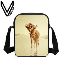 VEEVANV Brand 2017 Giraffe Animal Image New 3D Printing Shoulder Bags School Fashion Student Bookbag Casual Women Messenger Bags