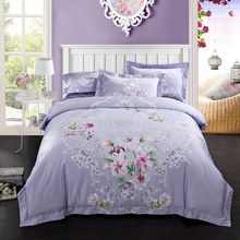 ARNIGU Flower bedclothes Queen king size 100% Egyptian Cotton Duvet cover bed sheet pillowcase tribute Satin bedding set purple(China)