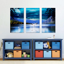 3 Pcs/Set No Framed Mountain Moon Animal Cranes Decoration Wall Art Pictures Night Landscape Canvas Paintings For Living Room