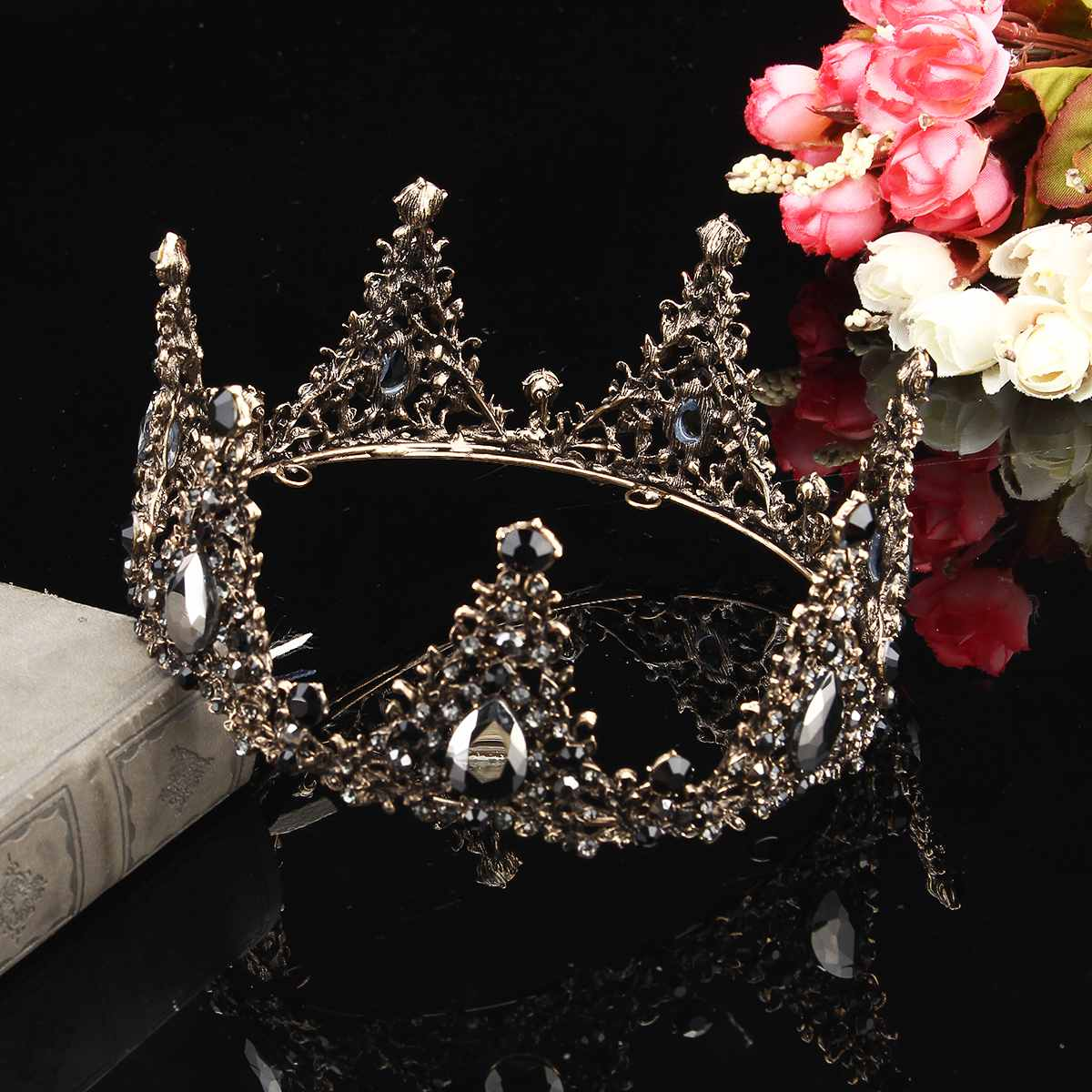 Detail Feedback Questions about Baroque Full Round Tiara Black Rhinestone  Crystal Crowns Vintage Queen Pageant Bridal Wedding Hair Jewelry  Accessories Prom ... 0a35e3031b03