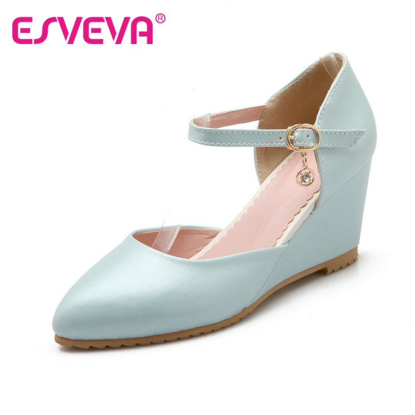 ESVEVA Blue Wedges High Heel Women Pumps Summer Pointed Toe  Women Shoes Ankle Strap PU White Ladies Wedding Shoe Size 34-42<br>
