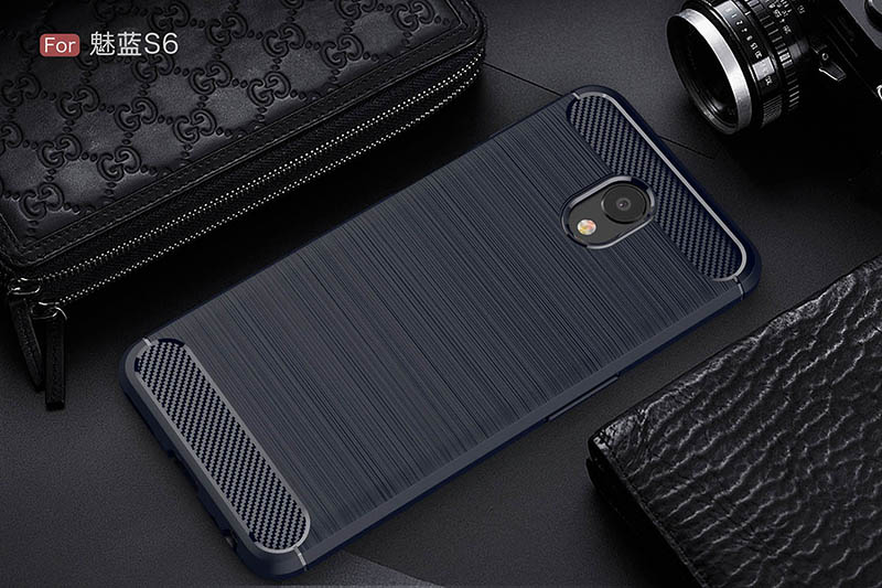 carbon fiber brushed silicone case meizu m6s (10)