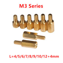 100pcs 3mm Thread M3 Hex Brass Standoff Spacer Male to Female Brass spacing screws pillar M3*4/5/6/7/8/9/10/11/12/13/14/16+4mm(China)