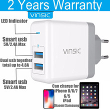 Vinsic 4.8A USB Wall Charger Travel Adapter EU Fast Charger iPhone iPad Samsung Xiaomi Phone Portable Charger Universal