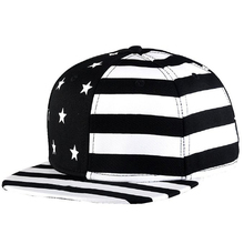 Men&Women Canvas Baseball Caps American Flag Printed Hip-hop Bone Snapback Cap Black/Red Hats For Men Gorras Hombre