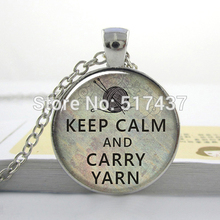 HZ--A295 Keep Calm and Carry Yarn knitters pendant, knitting necklace charm, knitter,Glass Photo Cabochon Necklace