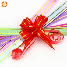 10PCS/Lot 1.2CM Bow-knot Flower Packaging Gift Bags Pumping Flower Garland For Home Party Wedding Car Decoration Festive Ribbons(China)