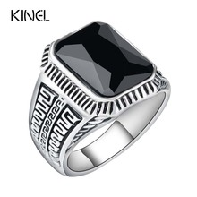 Vintage Men Rings Big Black Precious Stones Antique Silver Lover Ring For Men /Women Texture Engraving Model Jewelry Wholesale(China)