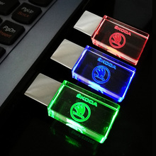 Crystal 4GB 8GB 16GB 32GB 64GB Car USB flash drive for Skoda USB 2.0 Memory Drive Stick Pen/Thumb/Car, Red/Blue/Green LED Light