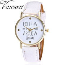 Vansvar Brand Fashion Follow Your Arrow Watch Women Dress Watch Casual Leather Vintage Bracelet Clock Watch 2121(China)
