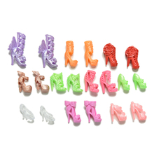 20Pcs/Lot Fashion Fixed Styles Doll Shoes Bandage Bow High Heel Sandals for Barbie Dolls Accessories Toys Color Random Wholesale(China)