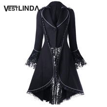 VESTLINDA Outerwear Coats Women Lace Panel Lace-Up High Low Coat Winter Coat Women New Fashion Casual Long Tops Black Red 2017(China)