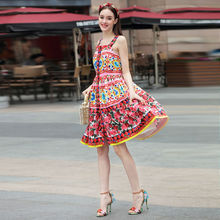 High-quality runway design star wearing 2017 new summer round collar Slim was thin flower harness printing chiffon vest dress