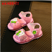 KKABBYII Girls Sandals With Light Summer Hello kitty Fashion Girls Shoes Sandals Flower Diamond Led kids Shoes Sneakers