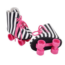 ZXZ Black White Stripe Top Quality Sport Shoes For 18 inch American Girl Doll Roller Skating Shoes Fit For Any 18''Dolls d4