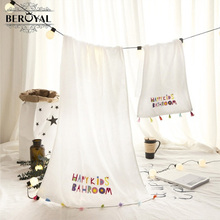 Beroyal 2018 Style New Pre Brand Towels Customized Customized Cotton Towels Cotton Embroidery Tassels Cute Cartoon Thick(China)