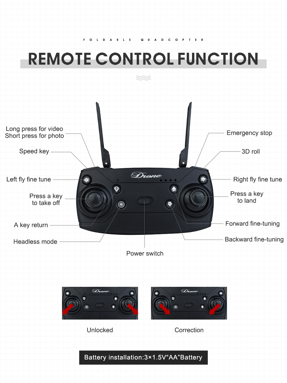 17.New 2.4Ghz 4ch foldable FPV rc drone with 2MP wide angle wifi camera