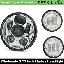 "Moto Headlight 5-3/4"" 5.75 Inch Motorcycle Projector High /Low HID LED Front Driving Headlamp & 4.5"" Chrome Fog Light For Harley"