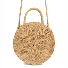 Handmade Rattan woven Round Handbag Vintage Retro Straw Knitted Messenger Bag Lady Fresh Handbag Summer Beach Tote khaki beige(China)