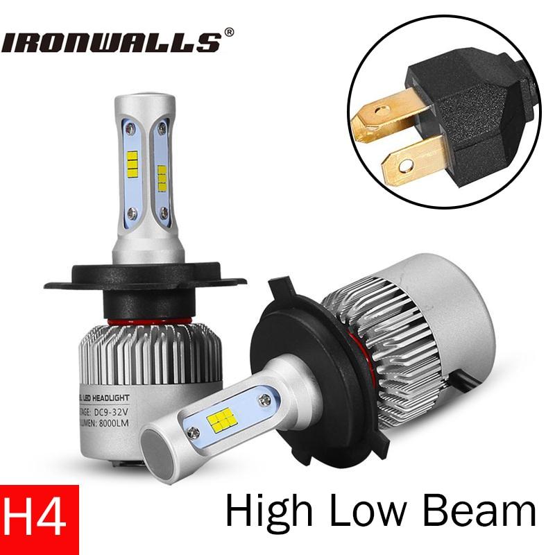 Ironwalls H4 Led Car Headlight Bulbs Cree Csp Chips 72W 8000Lm 6500K Hi-Low Beam 12V 24V All In One Fog Light Headlamp Kit<br><br>Aliexpress