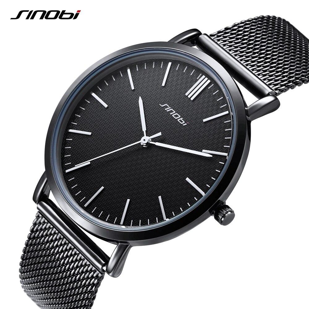 SINOBI Top Brand Watches Men Business Watch Ultra Thin Watch Stainless Steel Mesh Belt Relogio Masculino Erkek Kol Saati 2017<br>