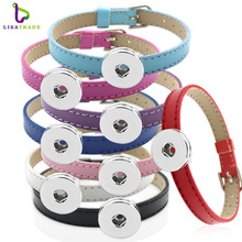 10PCS! Snap button Bracelet Bangle, 8MM PU Leather Wristband DIY Accessory Bracelet Fit Snap buttons & Slide charms LSNB12(China)