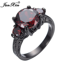 JUNXIN Red Jewelry Women Finger Ring  Black Gold Filled Red Cubic Zircon Wedding Engagement Ring Promotion Anel Aneis
