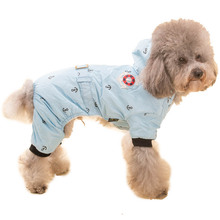 Navy Style Pet Dog Thick Winter Warm Hooded Clothes Jacket Dog Coat Jumpsuit Overalls 4 Legs Costume Apparel for Small Large Dog