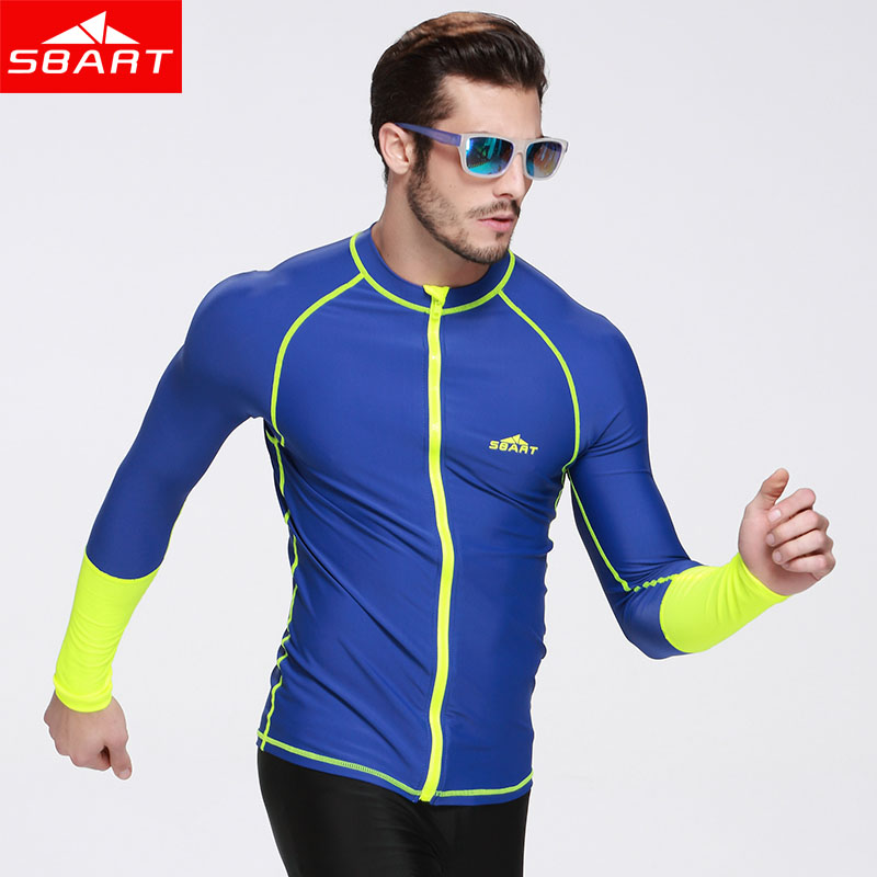 SBART  summer Anti-UV Long Sleeve Swim Rash Guards Shirts With Zipper Swimwear Tops for Men &amp; Womens Rashguard Surfing Jacket<br>