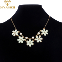 2015 new hot fashion elegant sweet candy pink yellow flowers gems lattice summer collar necklace & pendants for Women XY-N203