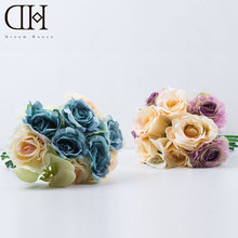 DH Moth orchid rose artificial bouquet Vintage Wedding Bride Holding Rose for marrage decor for Wedding flower home accessories