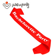 12pcs of Red wedding event mariage sash white printing favor party event supplies bachelorette fun party bride gift