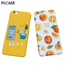 PJ.CASE Summer Fruit Rubberized Cover for iPhone 6 6s Plus 7 7 Plus Ultra Thin Matte Hard Plastic Orange Beer Case Capa Coque(China)