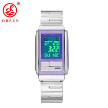 2017 Original Fashion OHSEN Women Digital Watches Female Full Steel Band Lady Watch LED 50m Swim Electronic Wrist Watch Relogio