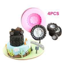 Silicone Tires Wheel Fondant Cake Molds 4PCS Chocolate Cookies Mould Bakeware Home Kitchen Baking Decorating Tools Accessories