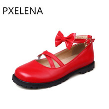 PXELENA 2017 Spring new Sweet Lolita Woman Mary Jane Shoes Woman Flats Ladies Party Butterfly-knot Date Cute Shoes Red Pink 9-2