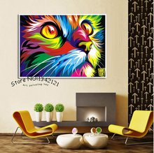 Free shipping Original Colorful Paint cat Head Graphic pictures Art print on the canvas wall decor Home wall art picture