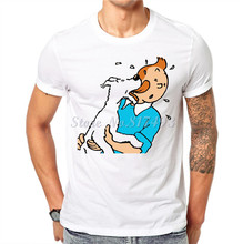 New Character Print Men T shirt Tintin Novelty Funny Male Cotton T-shirt Tees White Tops Hipster Clothing JT06