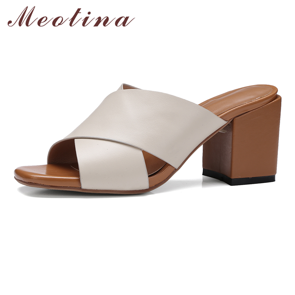 Meotina Genuine Leather Sandals Shoes Women High Heel Slides Mules Shoes Real Leather Shoes Summer Slippers Big Size 10 11 44 45<br>
