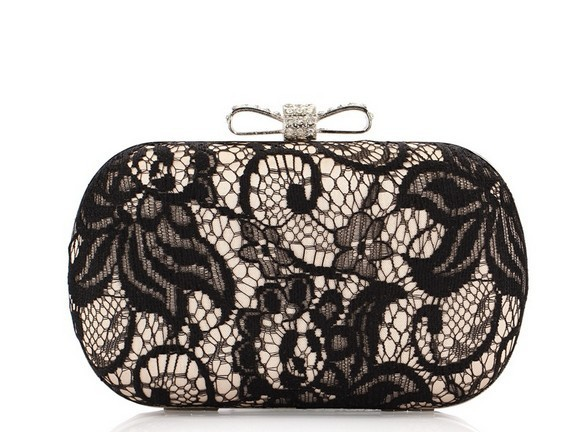 Good Hollow Lace Clutch Bag  New Lace Satin Evening Bags High-Grade Silk Bow Party Bag Exquisite  Day Clutches 3 Colors NO3013<br><br>Aliexpress