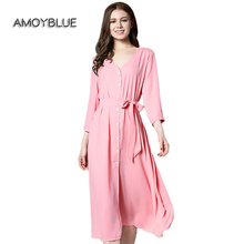 Amoyblue Spring/Summer Women V-Neck Long Pink Day Dress with Three Quarter Button Front Casual Loose Polyester Dress for Ladies