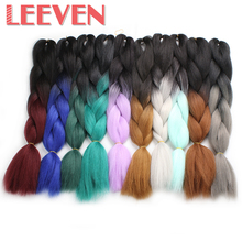Leeven 100g 24'' Jumbo Braids kanekalon synthetic ombre braiding hair Burgundy Blue Pink xpressions crochet hair extension 1PCS