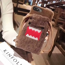 Fashion Cartoon Domo Kun Pocket Plush Case for iPhone 6 6S 7 8 Plus Cute Devil Soft Back Cover Capa for iPhone X Hoesjes(China)