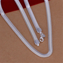 New Listing Hot sell Wedding women lady cute silver plated  6MM soft snake chain Necklace Fashion trends Jewelry Gifts N193