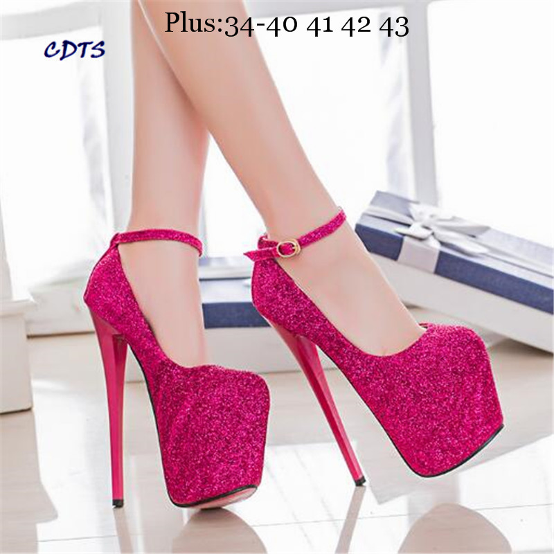 Crossdresser Plus:34-42 43 Summer sandals 19/20cm thin high heels Female Shoes Round Toe Sequined Platform Women Pumps SM Pumps<br><br>Aliexpress