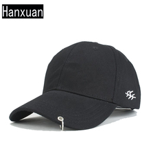 Fashion Men Ring Cotton Baseball Caps Summer Women Candy colors Sun Hats Metal Rings Visor Hat Male Safty Pin Curved Cap
