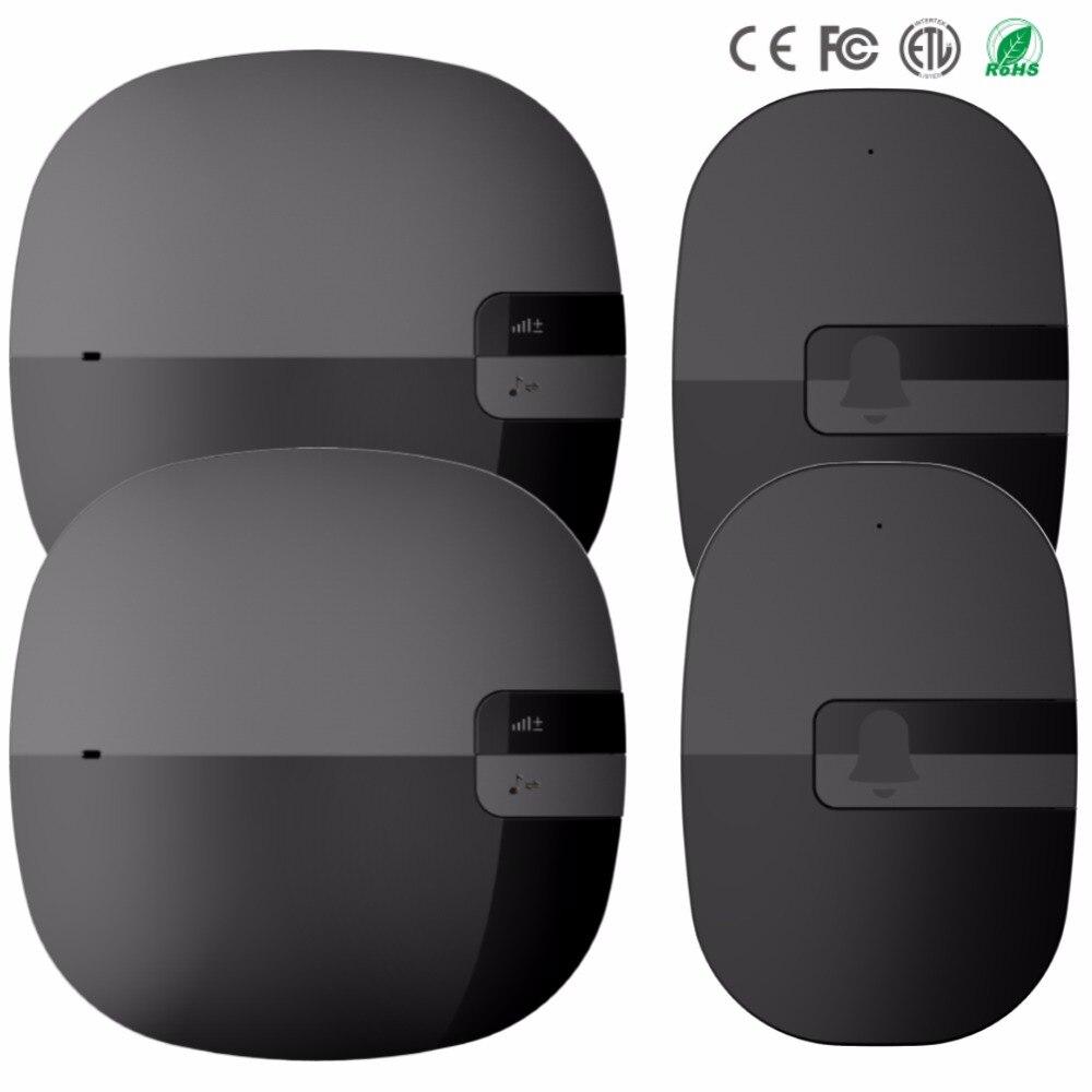 New 350M range Waterproof Doorbell US EU Plug Door Bell Wireless 36 Music AC 110V-220V Door Chime 2 button 2 receiver 433MHz<br>